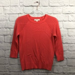 Forever 21 3/4 sleeve coral crew neck sweater